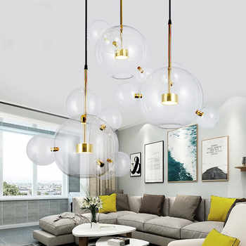 Modern Glass Bubble Chandeliers Lighting Dining Room Kitchen Island Copper Metal Led Chandelier Lamp Living Room Hanging Lights - DISCOUNT ITEM  30% OFF All Category