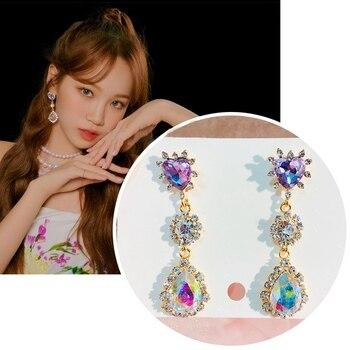 MENGJIQIAO Korean TV Star Shiny Purple Heart Waterdrop Crystal Earrings For Women Party Fashion Luxury Pendientes Jewelry