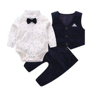 Комплекты одежды для маленьких джентльменов, рубашка с длинным рукавом для младенцев, комбинезон, галстук-бабочка, жилет, комплект одежды