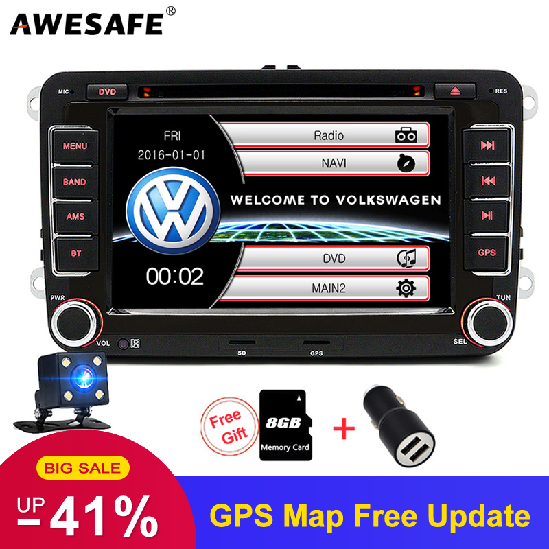 AWESAFE Radio-Player Autoradio Seat Car Dvd VW Sharan Skoda Passat B6 Touran 2-Din Volkswagen