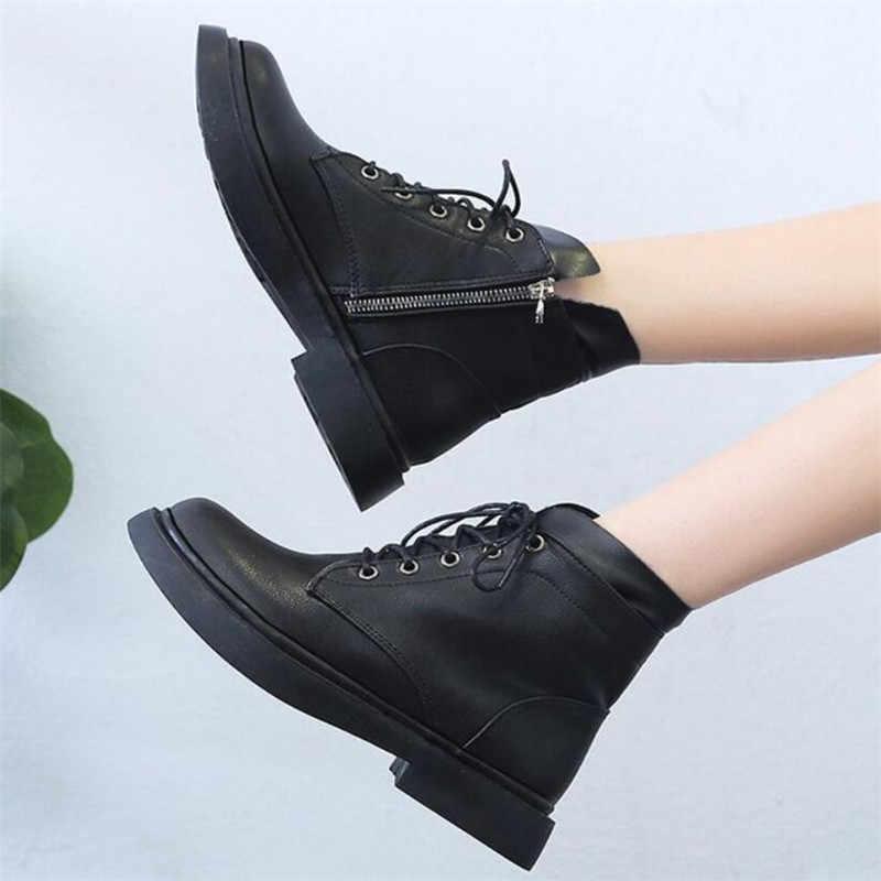 LZJ 2019 Yeni Kadın Botları Moda Yuvarlak Kafa Kadın Ayakkabı Yeni Klasik Dantel Düz Alt Bayan Deri Kış Kar çizmeler Bayanlar