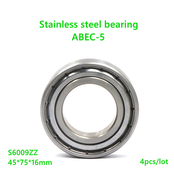 4pcs/lot S6009ZZ 45x75x16mm ABEC-5 Stainless steel bearing Double metal shielded cover Deep Groove Ball bearing S6009 ZZ 6009ZZ