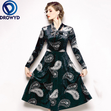 Fashion Velvet Print Maxi Dress for Women Autumn Boho Long Sleeve Bow Casual Elegant Street Holiday Party Dresses Vestidos
