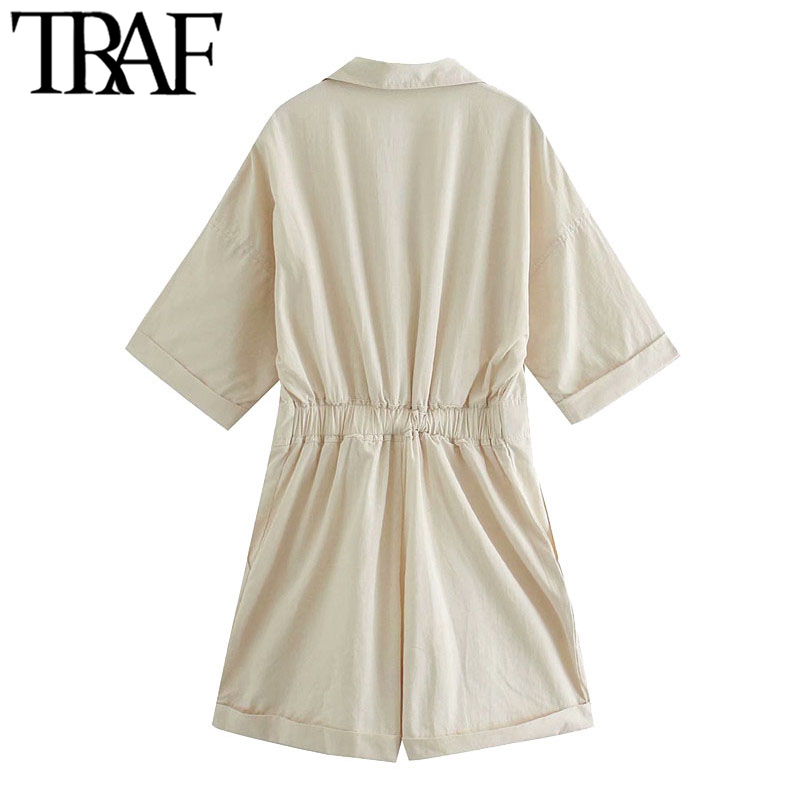 TRAF Women Chic Fashion With Pockets Loose Playsuits Vintage Adjustable Tied Back Elastic Female Short Jumpsuits Mujer