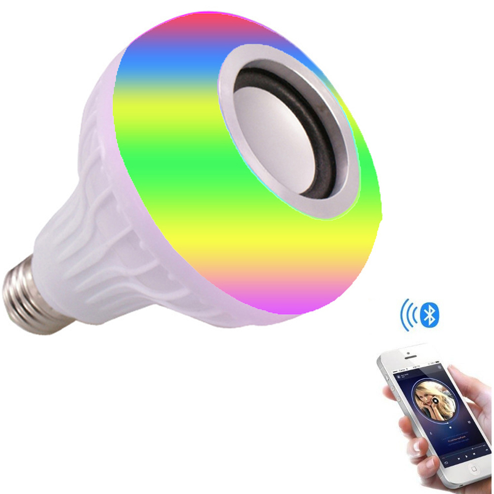 Smart RGB <font><b>RGBW</b></font> Wireless Bluetooth Speaker Bulb 220V 110V <font><b>12W</b></font> <font><b>LED</b></font> Lamp Light Music Player Dimmable Audio Remote Controller Lights image