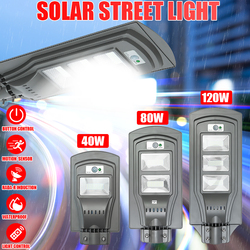 Led Zonne straat Licht Led Wandlamp 40 W/80 W/120 W Motion Sensor Waterdichte Beveiliging Lamp voor Tuin Yard Уличное Освещение-in Zonnenlamp van Licht & verlichting op
