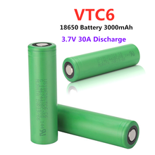 100% New original 3.7V 3000 mAh Li ion rechargeable 18650 battery for us18650 vtc6 3000mah 30A for Sony toys tools flashlight