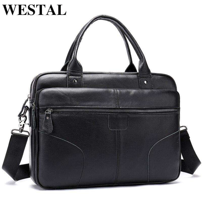 Men's Briefcase/genuine Leather Bag Men's Shoulder Male Leather Laptop Bag Business Briefcase Office Bags For Men 8626