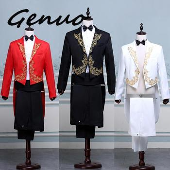 genuo 2020 New Men's Tuxedo Suits Parquet Chorus Singer Presided Over The Command Of Stage Costumes Red Black And White