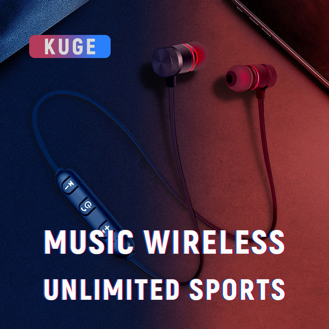 KUGE Wireless Bluetooth Earphone Handsfree Neckband Magnetic Headset Stereo Sport Music Headphone With Mic For All Smart Phone 1