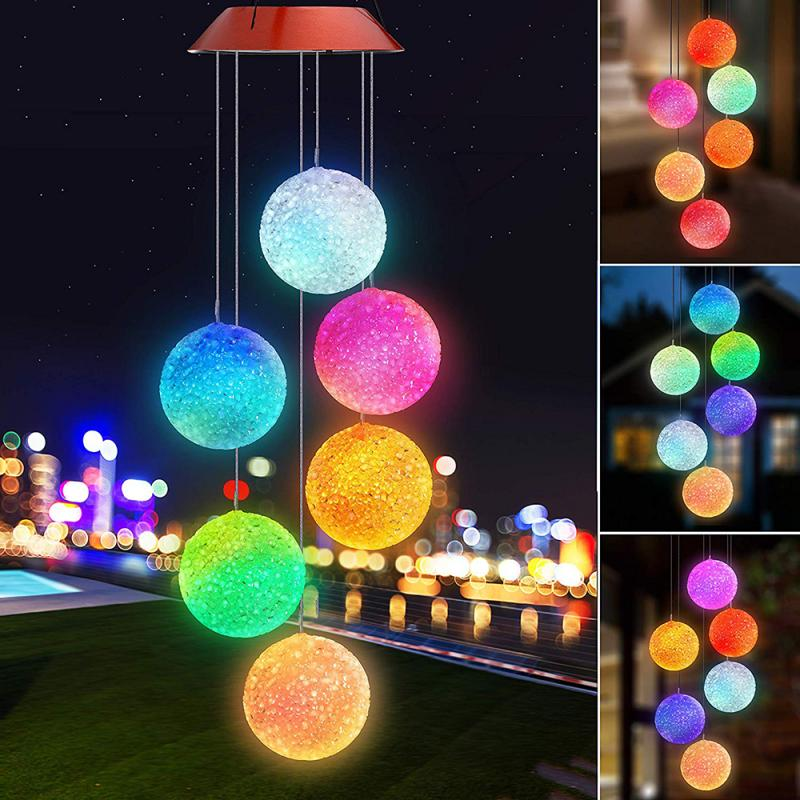 LED Solar Wind Chime Light Particle Ball Portable Color Changing Spiral Outdoor Decorative Windbell Light