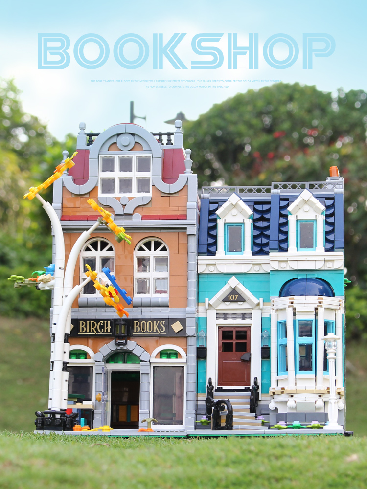 2020 New Street View Bookshop Cafe Corner Pet Shop lepinly City Creator Compatible <font><b>10270</b></font> Building Blocks Toys For Children Gifts image