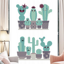 Large Happy Potted Cactus Wall Sticker for Living room Bedroom DIY Vinyl Wall Decal Eco-friendly Removable Wall Mural Home Decor grazing wall sticker home wall decor living room bedroom wall decal removable wall art mural jh206