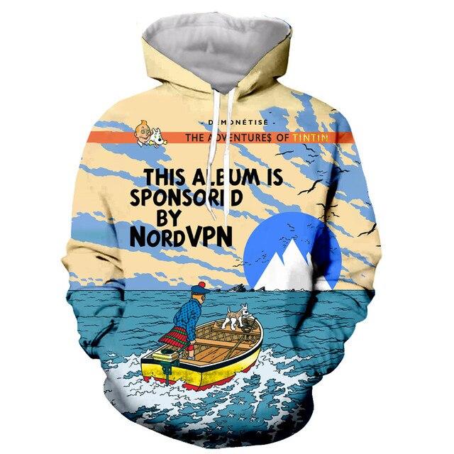 New arrive The Adventures of Tintin 3D print men women fashion cool sweatshirt hoodies streetwear casual dropshipping
