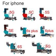 """1 pçs novo para iphone 5 5S se 2020 6g 6s 4.7 """"& 6 6s plus 5.5"""" usb porto de carregamento doca conector cabo flexível com microfone peça de substituição"""