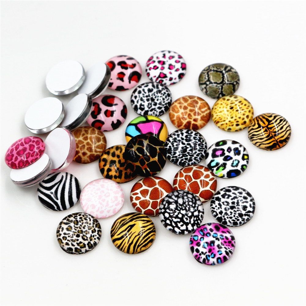 50pcs/Lot 12mm Photo Glass Cabochons Mixed Color Cabochons For Bracelet Earrings Necklace Bases Settings-E4-89