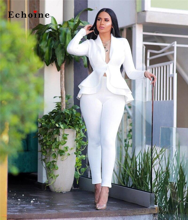 Elegant Women Office Suit Sexy Cascading Ruffle Tops Inner Button Casual Blazer Two Piece Set Long Pants Streetwear Lady Outwear