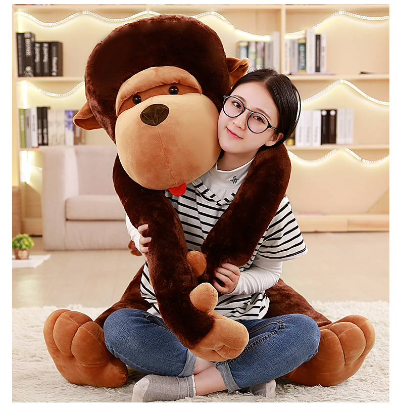 80/110cm Giant Size Cartoon Big Mouth Monkey Plush Toy The Gorilla Plush Doll Stuffed Pillow For Children Playmates Toy