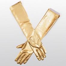 Женские кожаные перчатки хип-хоп супер длинные перчатки Весна Осень Новые Большие размеры Модные Простые перчатки золотые элегантные тонкие