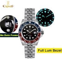 Cronos-Reloj Automático GMT para hombre, pulsera de Metal con bisel bidireccional de zafiro, 20ATM, 5 eslabones, BGW-9, de cuerda automática