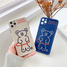 цена на Case for Iphone 7 8 Plus 11 Pro Max Phone Cases for Iphone X XR XS MAX Cover Cartoon Squishy Cute Pattern Brunch Brother Bear