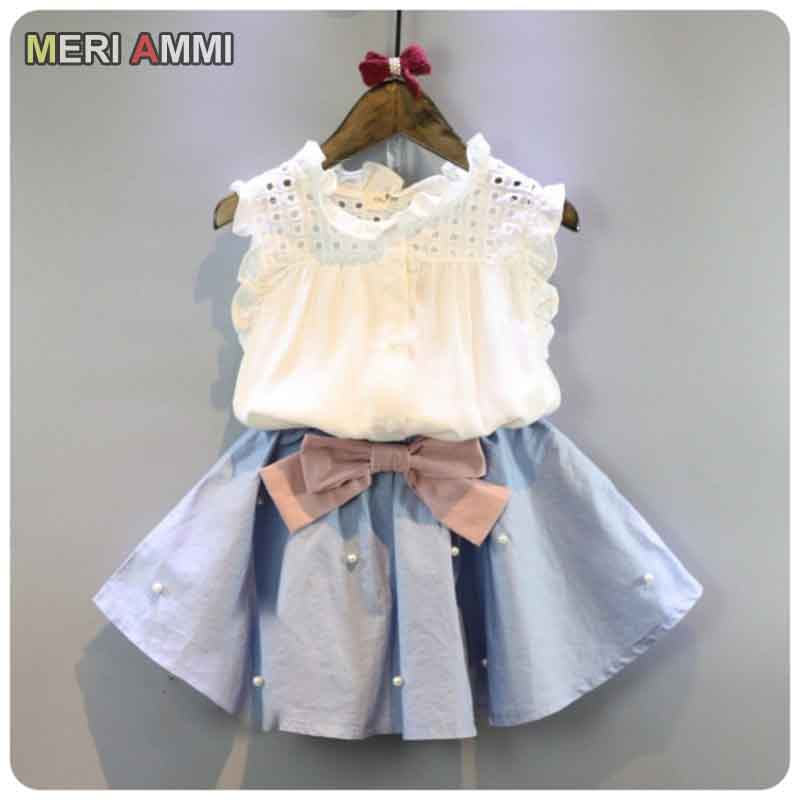 >MERI AMMI Baby Girl Clothing Outfit <font><b>Set</b></font> Lace Sleeveless Tee Floral <font><b>Top</b></font> +Skirts With Bow Outwear For 2-11 Year Children