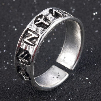 Punk Fashion Style Antique Retro Male Jewelry Viking Ring Female Black Amulet Vintage Norse Rune Rings For Women Men 1