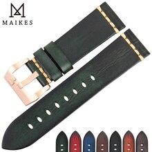 MAIKES skórzany pasek do zegarków Vintage włoski pasek ze skóry bydlęcej 20mm 22mm 24mm do paska zegarka Longines Tudor Rolex