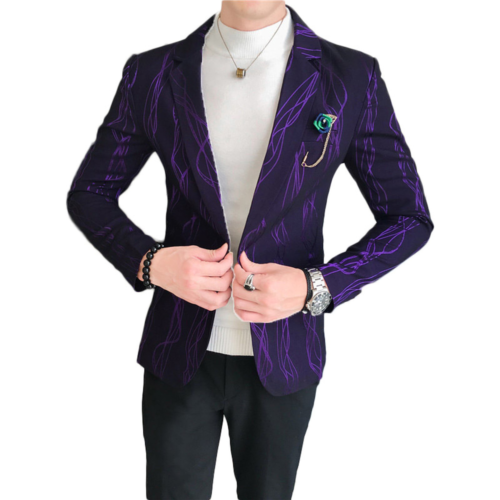 Personality Gilding Stripe Blazers Men Blazer Homme Male Prom Office Formal Tuxedos Jacket Slim Fit Business Casual Suit Jacket