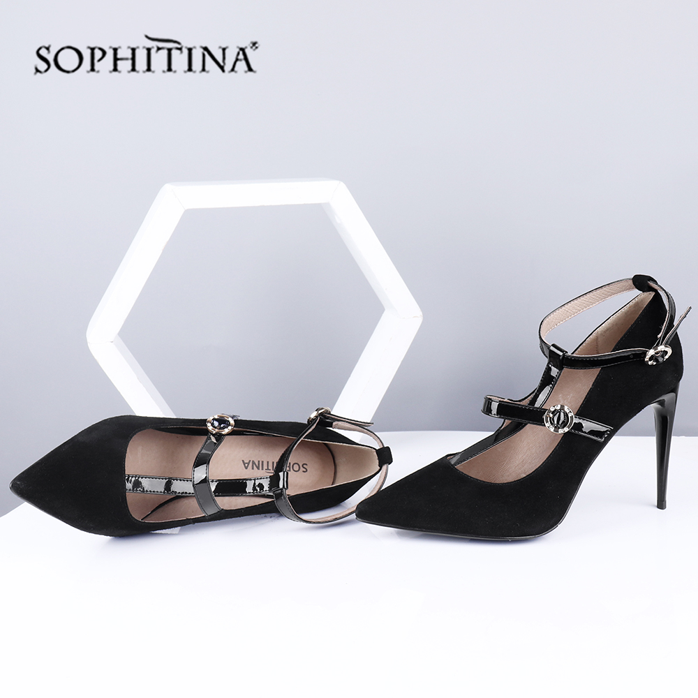 SOPHITINA Summer Women's Sandals Pointed Toe Thin Heels Super High Fashionable Narrow Band Shoes Kid Suede Mature Sandals SC309