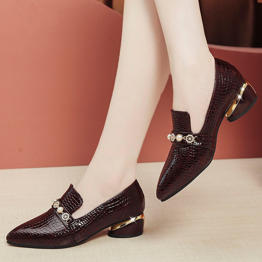 Shoes Elegant Pearl Block-Heel Small Women Ladies Pointed-Toe Round Autumn Low Pu Crocodile-Pattern title=