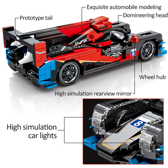 1:18 City Pull Back Super Vehicle Building Blocks Technic DC Racing Car MOC Model Creator Bricks Educational Toys For Children