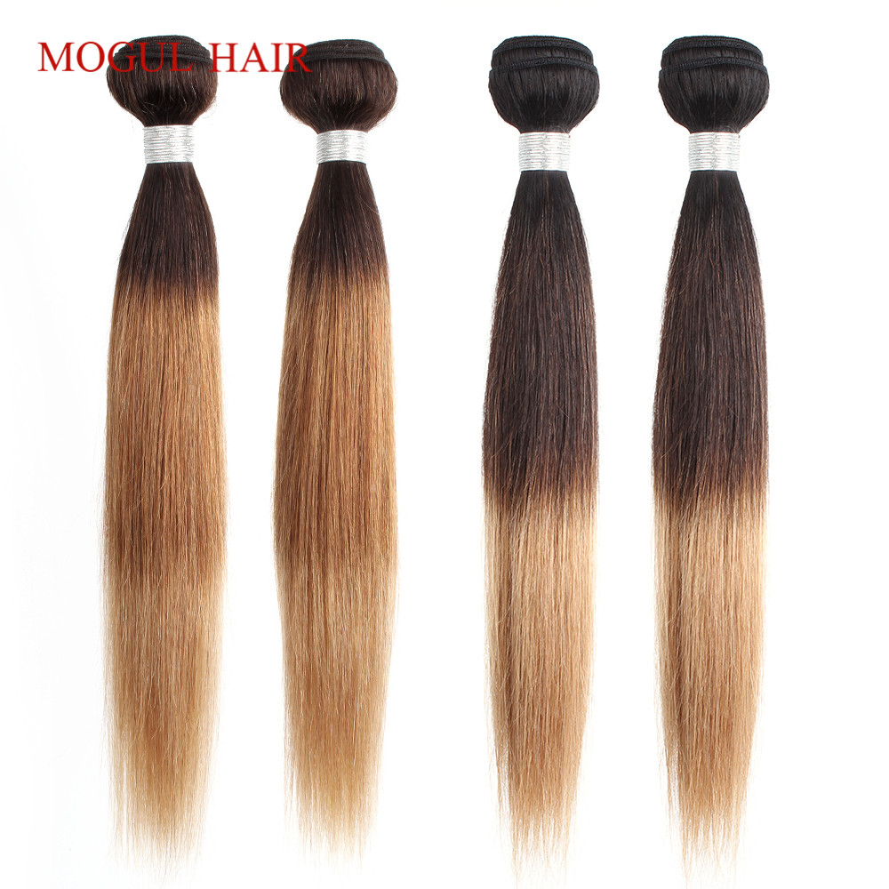MOGUL HAIR Indian Human Hair Ombre Straight Hair Weave Bundles 2/3 Bundles Three Tone Ombre Honey Blonde Non Remy Hair Extension