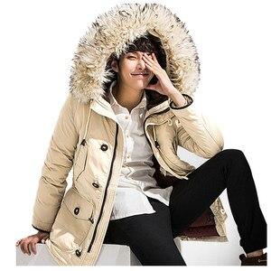Image 3 - Nova marca jaqueta de inverno dos homens 90% pato branco para baixo jaqueta grossa manter quente jaqueta de pele gola com capuz para baixo jaquetas casaco masculino