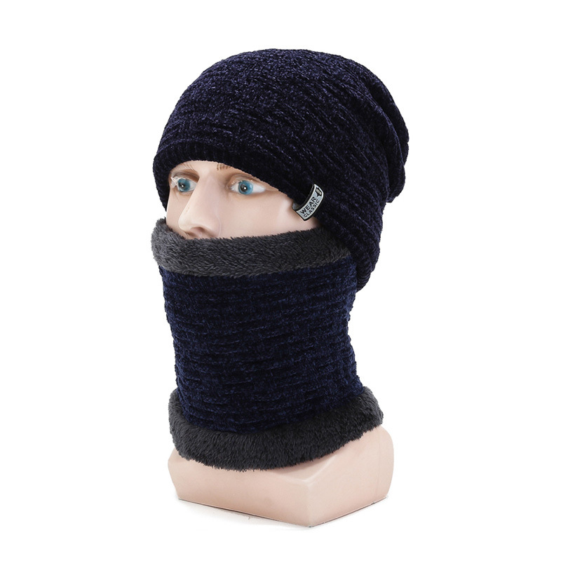 GBCNYIER Knit Cotton Male Hat Thick Fur Scarf Outdoor Windproof Lock Warm Twinset Fashion All-Match Fashion Man