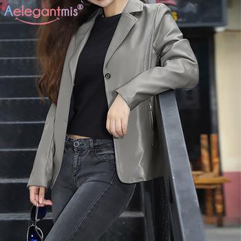 Aelegantmis nowa kurtka ze sztucznej skóry kobiet koreański luźny Vintage motocykl przycięte płaszcze ze skóry sztucznej kobiet eleganckie nieformalne okrycie wierzchnie Chic tanie i dobre opinie CN (pochodzenie) Na wiosnę jesień Jednorzędowe NONE Moto Biker REGULAR Pełne Faux leather 1LYXxsjq Dla osób w wieku 18-35 lat