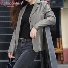 Aelegantmis nowa kurtka ze sztucznej skóry kobiet koreański luźny Vintage motocykl przycięte płaszcze ze skóry sztucznej kobiet eleganckie nieformalne okrycie wierzchnie Chic tanie tanio CN (pochodzenie) Na wiosnę jesień Jednorzędowe NONE Moto Biker REGULAR Pełne Faux leather 1LYXxsjq Dla osób w wieku 18-35 lat
