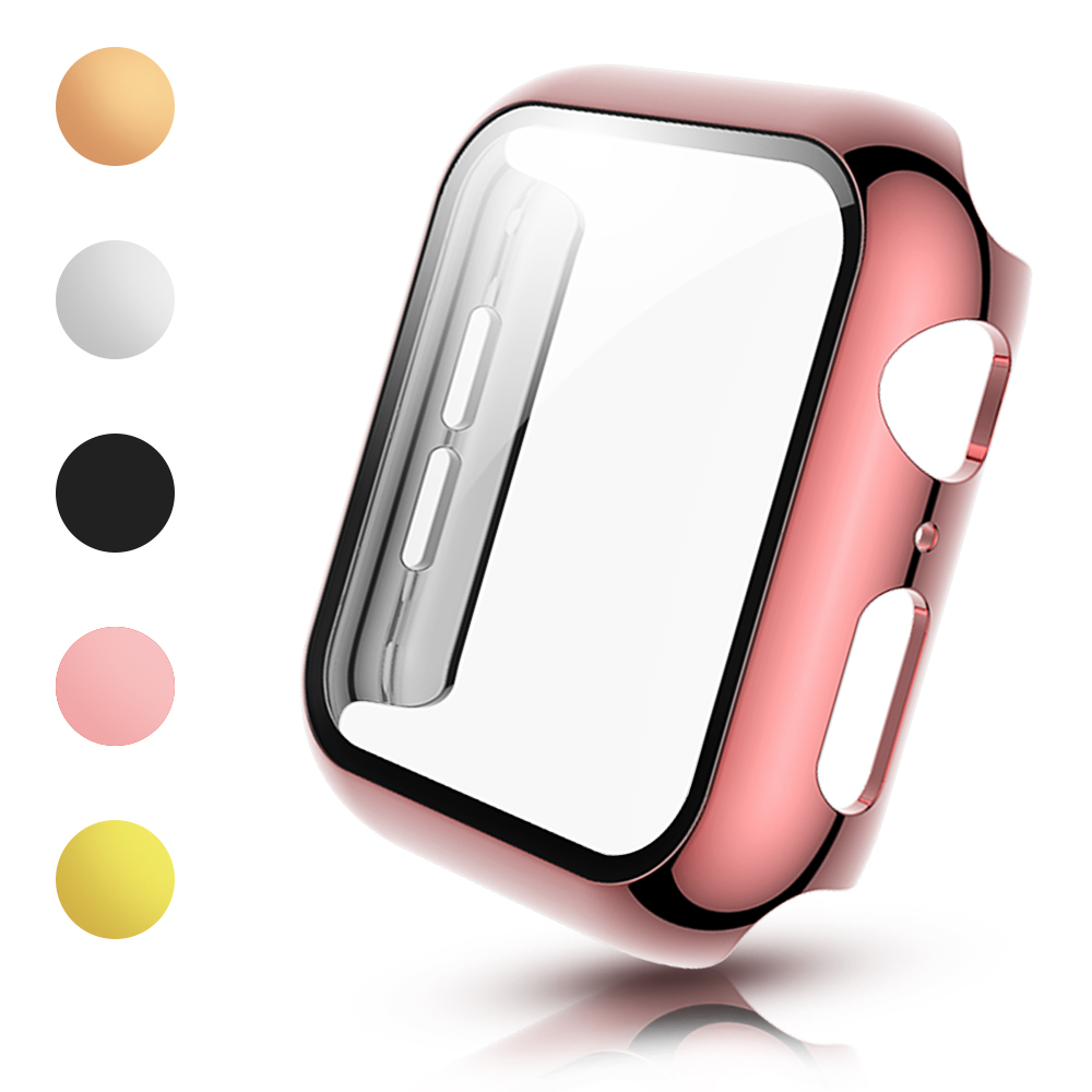 PC Cover with Tempered Glass Film for <font><b>Apple</b></font> <font><b>Watch</b></font> Series 5 4 <font><b>3</b></font> Screen Protector Case Light Bumper for iWatch 40mm 44mm 38mm <font><b>42mm</b></font> image