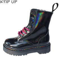 Black Boots Gothic Chunky Heel Women Shoes Zipper Patent Leather Pu Ankle Punk-Style