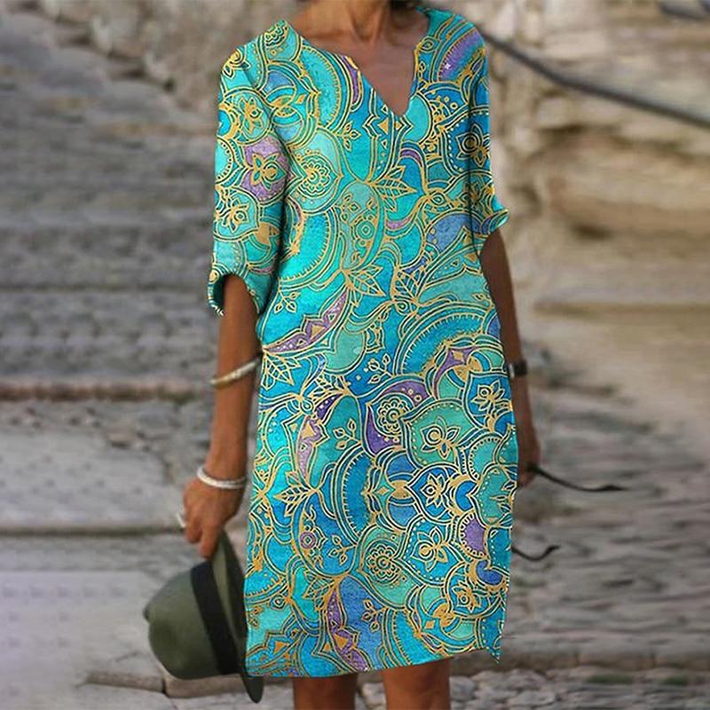 Для женщин осень V образным вырезом с коротким рукавом с принтом по колено платье прямого кроя Повседневное на каждый день; Зеленое платье п...