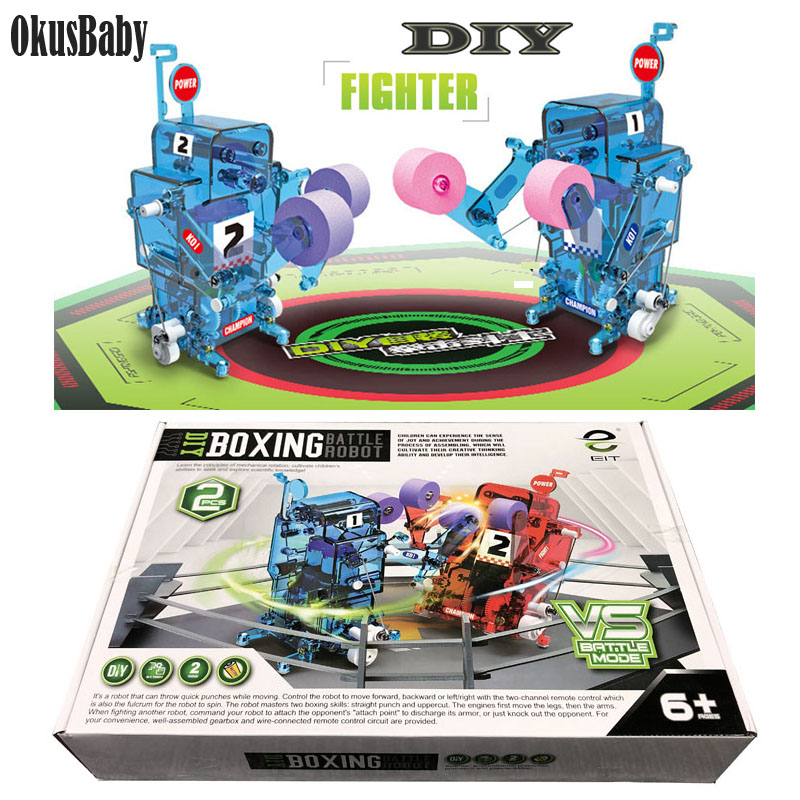 DIY Assembled RC Robot Action Boxing Battle Toy Combat Robot Remote Control Battle Robot Educational Toy For Boy Christmas Gifts