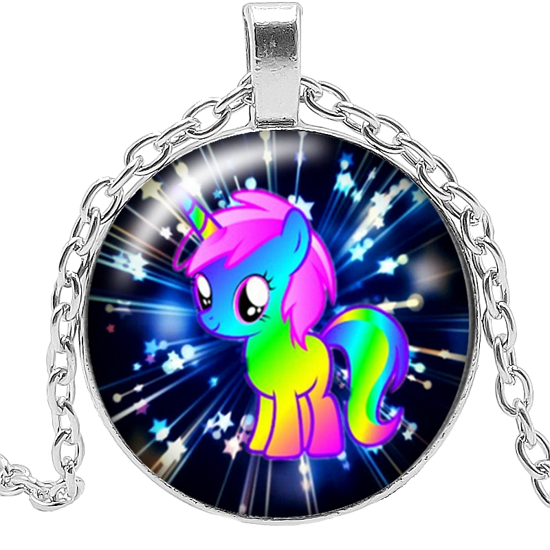 2019 Hot Sale Fashion Handmade Time Jewelry Glass Convex Round Pendant Necklace Fairy Unicorn Gift High Quality Necklace Jewelry in Pendant Necklaces from Jewelry Accessories