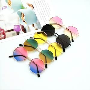 Polygon Sunglasses Lens Retro Vintage Small Women Luxury Frame Mirror-Color Pink