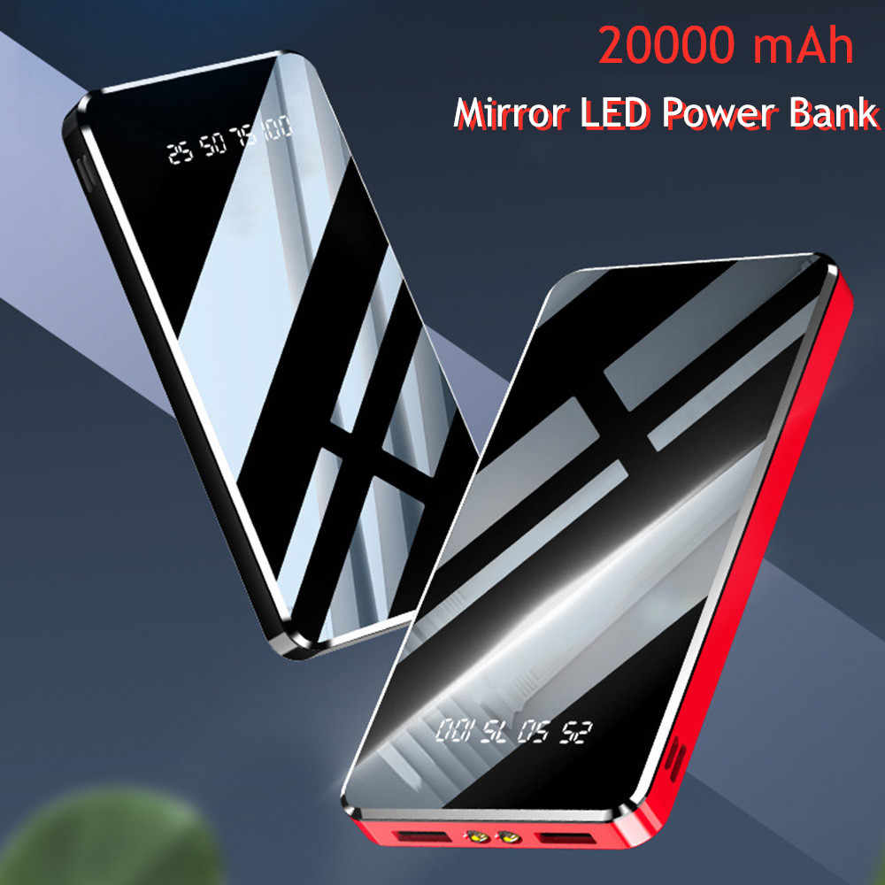 20000 mAh Spiegel LED Digital Display Power Bank Tragbare Externe Batterie Ladegerät 10000mAh Power Für iPhone 7 Samsung Xiaomi