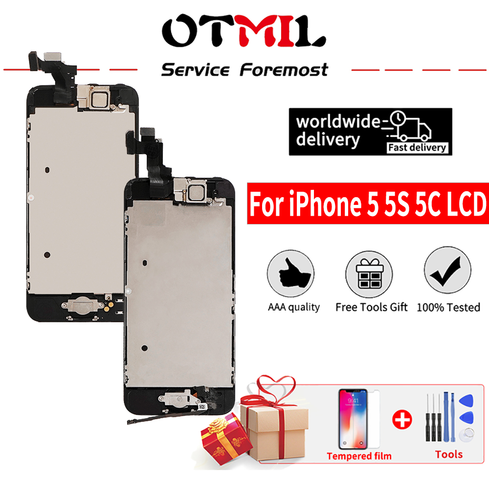ЖК-дисплей OTMIL для iPhone 5 5C 5S 5SE, сенсорный экран с рамкой в сборе, дигитайзер, сменный ЖК-дисплей для iPhone 5 5S, ЖК-экран