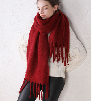 Candy Color Thick Warm Women Winter Scarfs Shawl Ladies Stole Faux Cashmere Solid Color Scarves Poncho [aetrends] winter poncho vintage lace design women s cape shawl cashmere feel scarfs for ladies z 6547