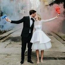 50s винтажные Короткие свадебные платья с длинным рукавом из