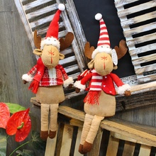 Christmas home decoration articles retractable plush elk doll handmade exquisite luxury decorations