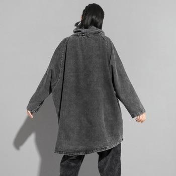 EAM Loose Fit Black Denim Oversized Sweatshirt New High Collar Long Sleeve Women Big