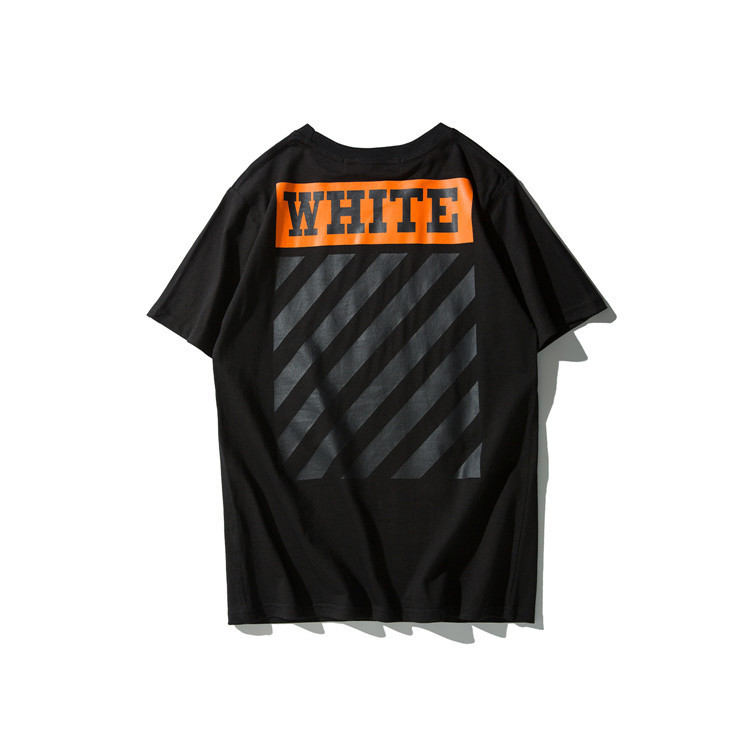 Europe And America Fashion Off White 2019 Summer Black And White With Pattern Curve Men And Women Short Sleeve T-shirt